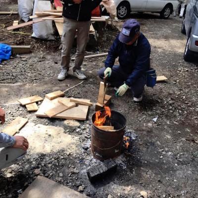 現場の焚き火(箱根強羅の家)