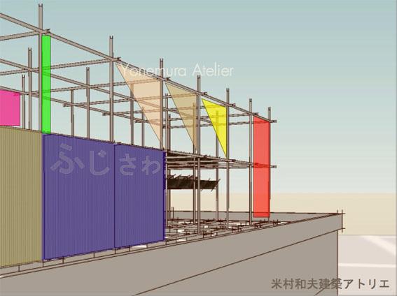 マンション、ビル等の屋上スペースを活用した防災備蓄倉庫、海辺の町の防災備蓄倉庫、津波対策提案の防災備蓄倉庫 、米村和夫建築アトリエ、風のアトリエ、藤沢市に提案したい提案、幻の提案、